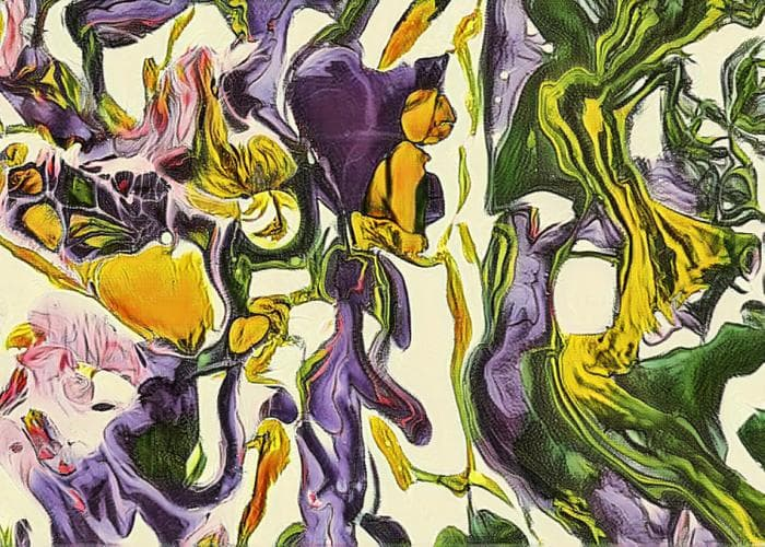 abstract image withflower textures in purple, yellow, and greens